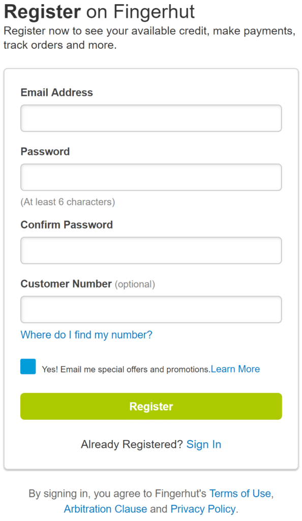 Fingerhut Membership Registration Screen