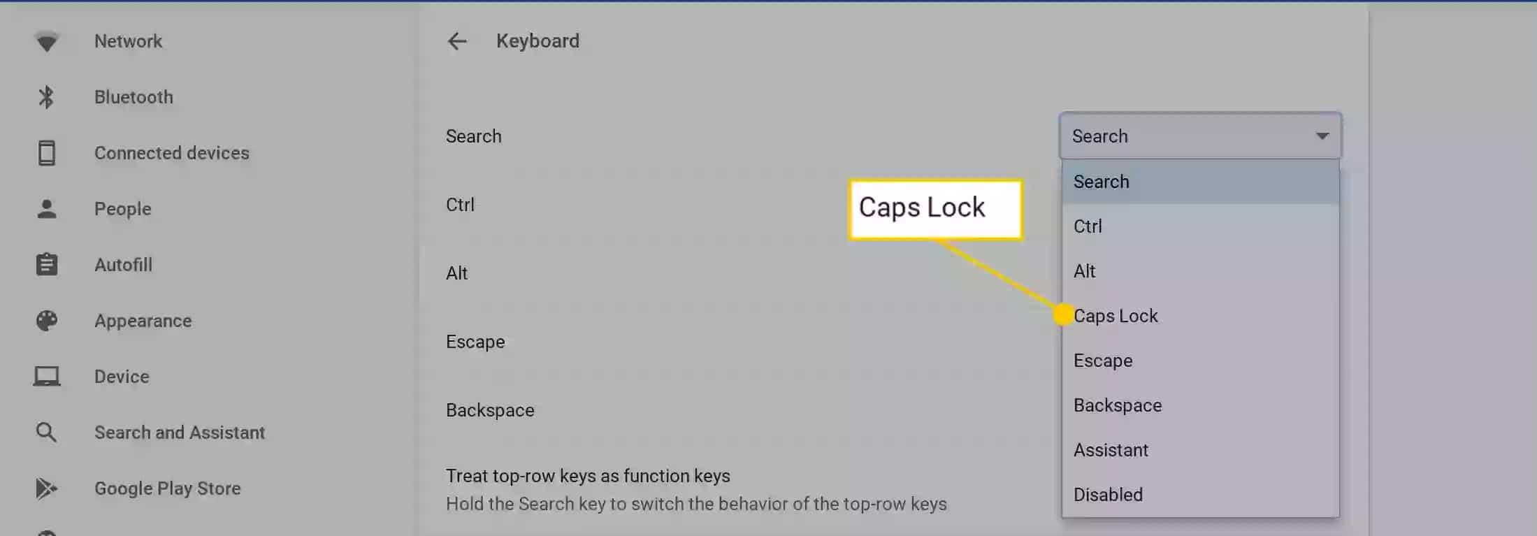Caps Lock on Chromebook
